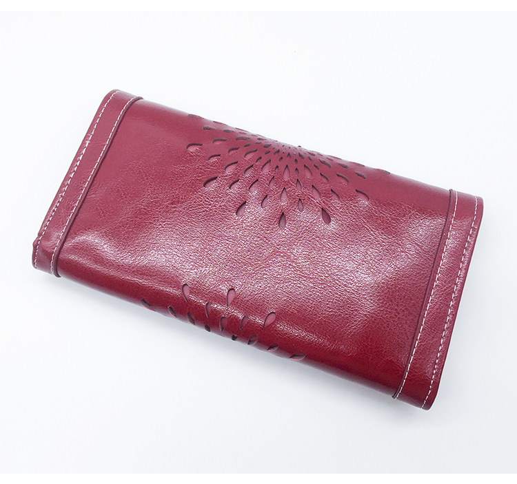 2a17228d56745 Fashion Luxury Women's Cow Leather Phone Wallet Retro Sunflower Hollow Out  Card Holders Lady Elegant Purse Female Long Clutches