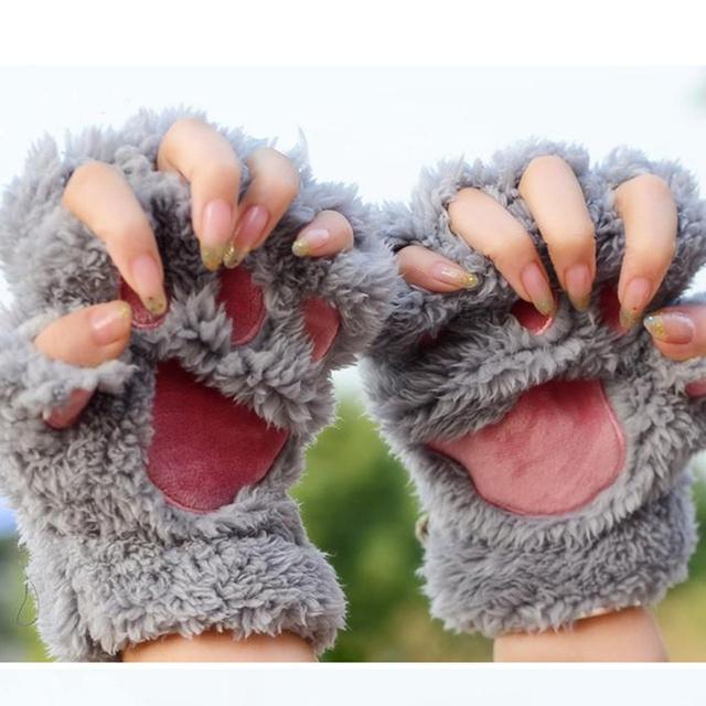 Half Finger Gloves Fluffy Paw