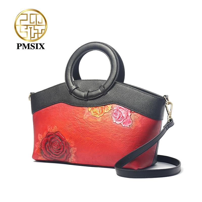 PMSIX Embossed Floral high quality Genuine leather Ladies' Handbag Fashion Women Single Shoulder bag luxury Colorblock crossbody