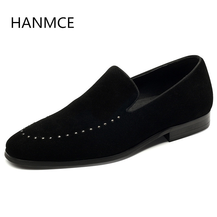Hommes Slip Quotidien Black De Chaussures Sur Loisirs Travail Mode Toe Conception Nombre Pointu Casual Cuir Noir En Nouveau D'affaires Rivets 7xwRdqHU7W