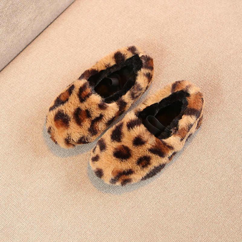 Halozeroo новые зимние для маленьких девочек меха черная обувь Малыш мягкие Лоферы модные детские теплые Туфли без каблуков детские мокасины Брендовая обувь леопардовой расцветки