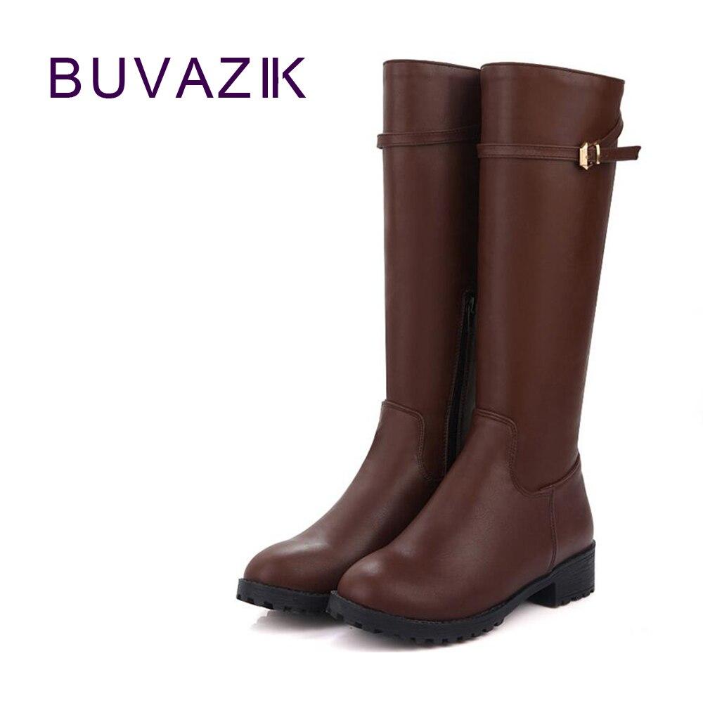 2017 зима новый женщин высокие сапоги рыцарь женские ботинки теплые внутри Размер 41 42 нескользящая подошва мода пряжка черный коричневый