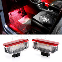 2PCS Premium White Red LED Side Door Courtesy Lights Door Warning Light With Cable For VW