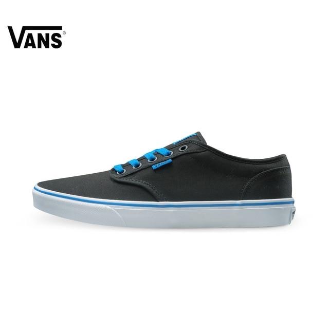 Original Vans Black and Blue Gray and Red Color Low-Top Men's Skateboarding  Shoes Sport