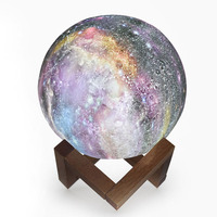 Remote Control Planet Night Light 3D Moon Starry Sky Galaxy Night Lamp Brightness Adjustable Touch Switch Kids Bedroom Gift Lamp
