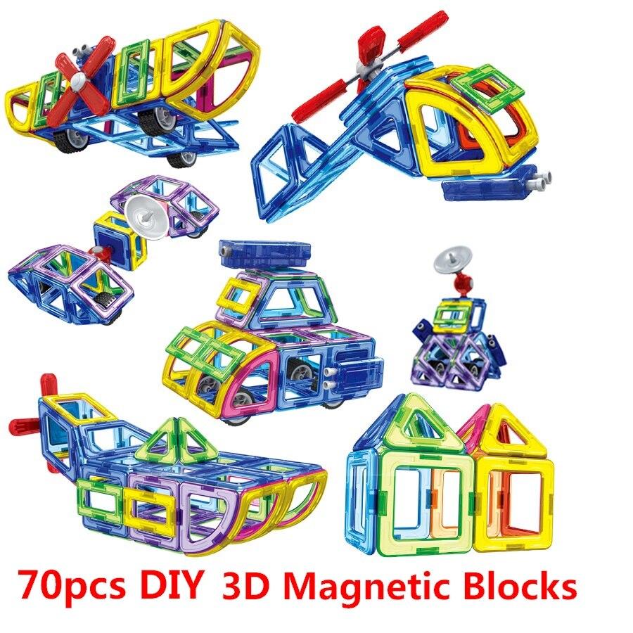 70 Pcs/ensemble Magnétique Designer Créateur 3D Modèles Éducatifs BRICOLAGE Blocs de Construction Briques Jouet Assembler Éclairent Jouet Cadeau