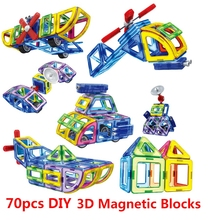 70Pcs/Set Magnetic Designer Creator 3D Educational Models DIY Building Blocks Bricks Toy Assemble Enlighten Gift