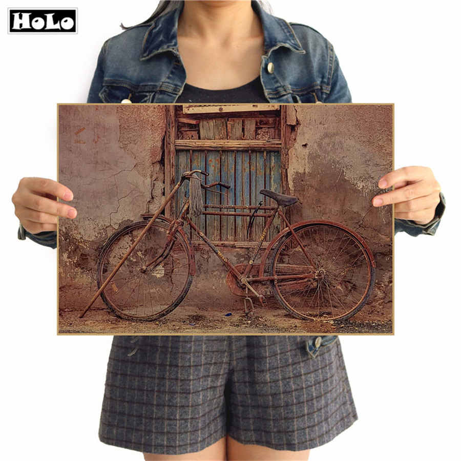 Old Bicycle wall sticker Vintage poster kraft paper for paper living room bedroom cafe bar decor picture 42x30cm GGB067