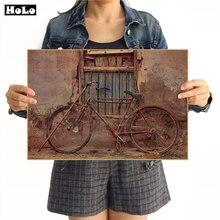 Pegatina de pared de bicicleta antigua, póster Vintage, Papel kraft para papel, sala de estar, dormitorio, cafetería, decoración, cuadro, 42x30 cm, GGB067