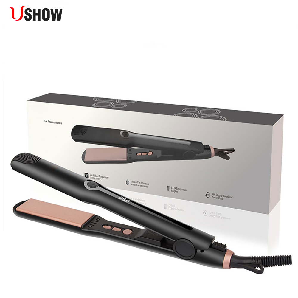 Professional Hair Straightener Tourmaline Ceramic Heating Plate Electric Hair Straightening Iron dsp temperature control tourmaline ceramic electronic hair straightener ptc heating straightening iron styling 45w 220 240v