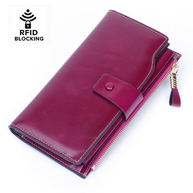 Frauen RFID Sperrung Wachs Echtem Leder Kupplung Brieftasche Karte Halter Organizer Damen Geldbörse Telefon Weibliche Große Kupplung Neue
