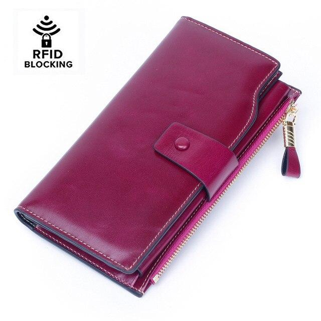 Las mujeres RFID bloqueo de cera de cuero embrague de cuero genuino tarjeta titular cartera organizador monedero teléfono grande embrague nuevo