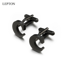 Lepton Stainless steel Letters Cufflinks for Mens Black & Silver Color Letters C of alphabet Cuff links Men Shirt Cuffs Button igame letters cufflinks silver color fashion english letters design 26 letters copper material free shipping