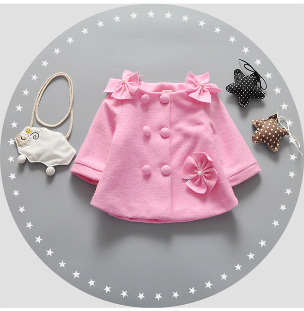 new 2016 girls coat winter autumn flower baby girl jackets lovely princess newborn outerwear clothes baby coat for birthday gift