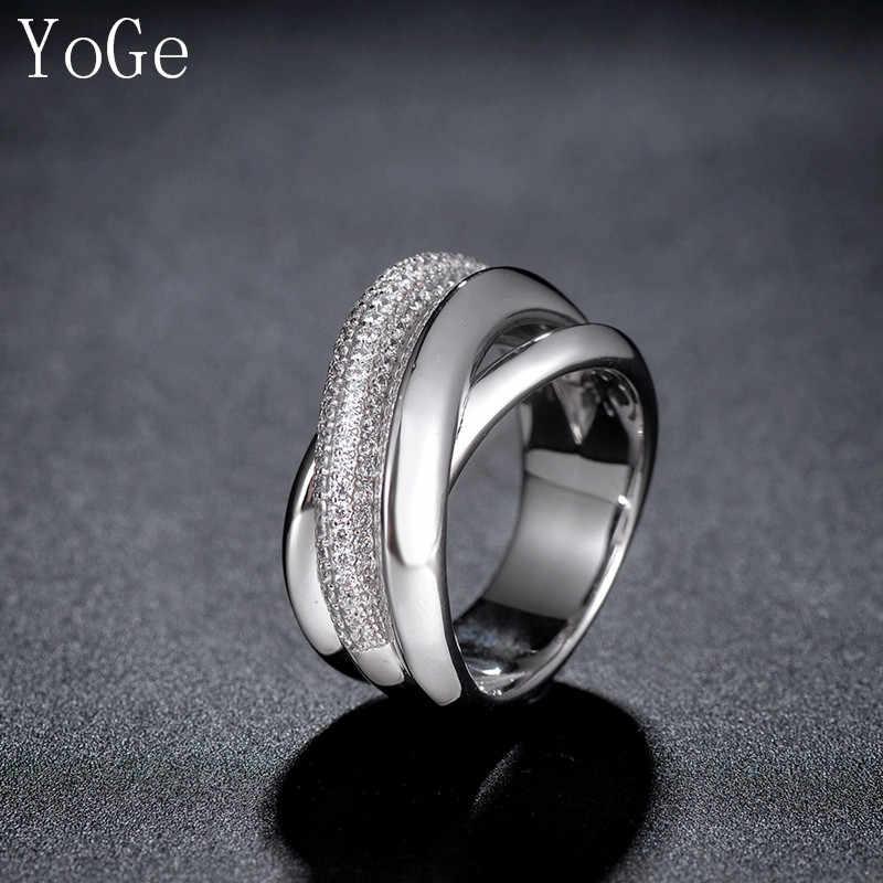 YoGe statement งานแต่งงานและงานปาร์ตี้เครื่องประดับสำหรับผู้หญิง,R2529 Luxury AAA CZ Multi-Layered Full Finger แหวน