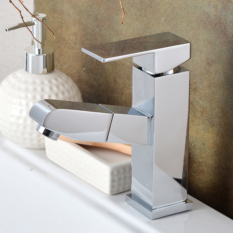 Pull Out Bathroom Faucet Brass Basin Faucets Mixer Hot Cold Water Taps Single Hole Single Handle Pull Down Faucets Bathroom bathroom basin faucets modern chrome finished bathroom faucet single hole cold and hot water tap basin faucet mixer taps