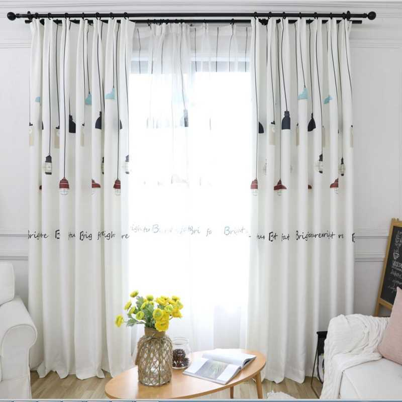 Colorful Lamp Nordic New Design Shade Curtains For Living Room Cartoon Blackout Window Curtains Fabric For Children DF069-40