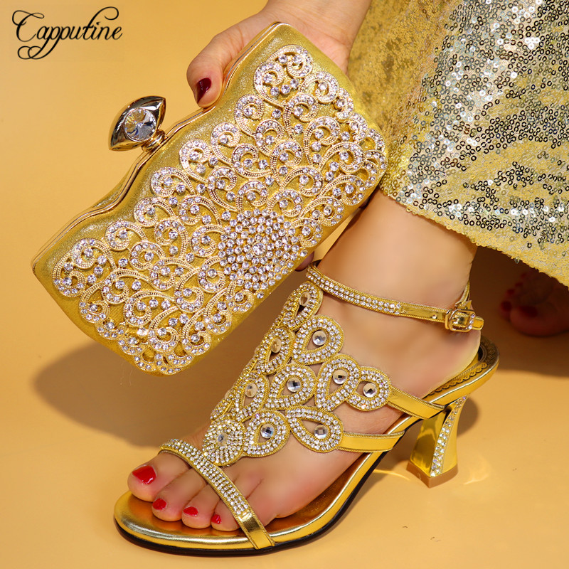 Capputine High Quality Italian Gold Shoes And Bag Set Fashion African Style High Heels Shoes And Bag Set For Party Dress TX-25 capputine italian fashion design woman shoes and bag set european rhinestone high heels shoes and bag set for wedding dress g40