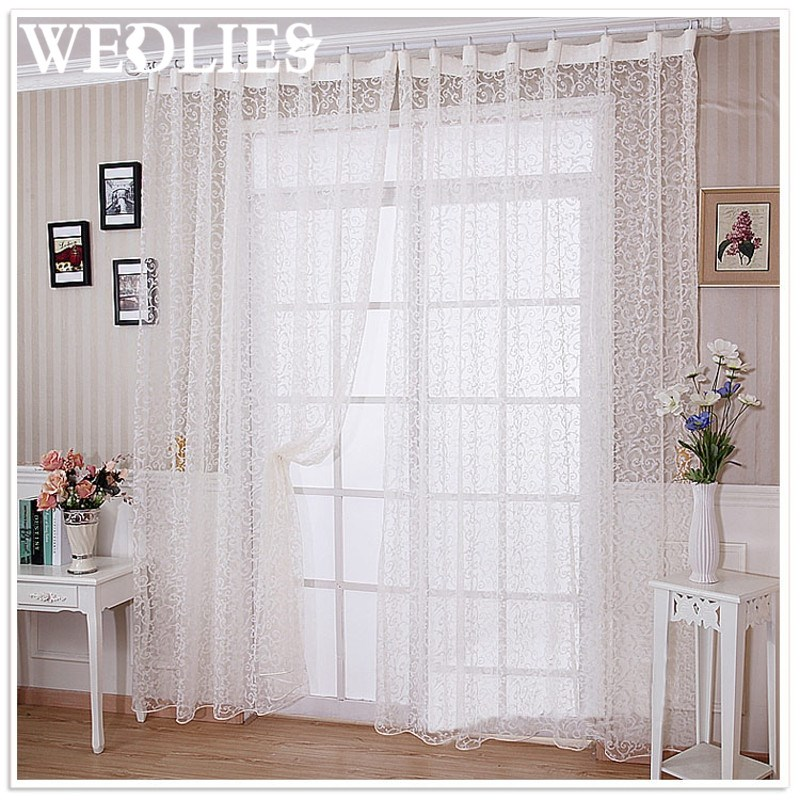 polyester putih voile tirai gorden panel jendela room divider transparan tipis tulle rumah tekstil