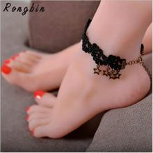 Handmade Gothic Vintage Ankle Bracelet Barefoot Sandals Beach Foot Jewelry Ankle Sexy Black Lace Anklets Star Penadnt For Women
