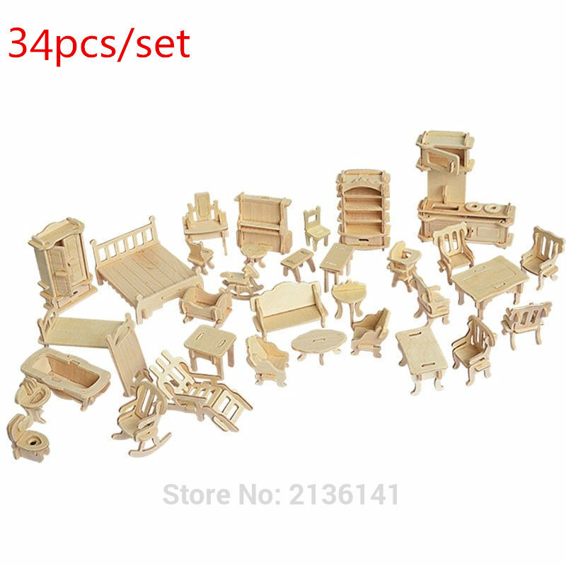 New arrive 34 pcs set wood Furniture toys miniature chair miniature dollhouse furniture accessories Develop intelligence