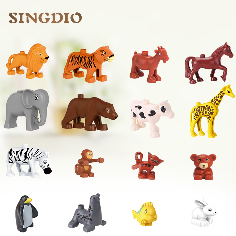 SINGDIO الحيوان اللبنات سلسلة حديقة الحيوان لعب الأطفال DIY مجموعة ألعاب تعليمية للأطفال متوافق مع dduplo