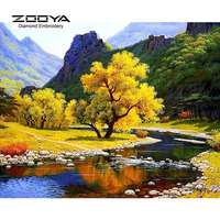 NEW 3D DIY Diamond Painting Cross Stitch Autumn Landscape Crystal Needlework Diamond Embroidery Full Diamond Decorative