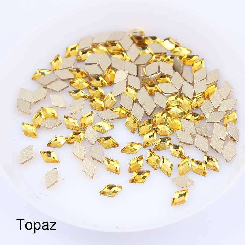 30/100 шт./лот ногтей Стразы 3x5 мм Flatback ромб с цветными камнями для 3D нейл-арта украшения - Цвет: Toapz