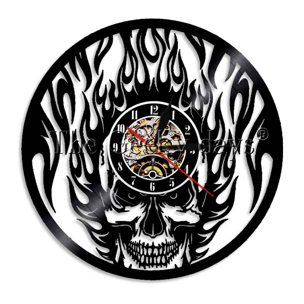 Wall Clocks 1piece Black Fire Skull Wall Clock Cranium Horror Vinyl Clock Lp Record Deaths Head Decorative Clock Led Lighting Complete In Specifications