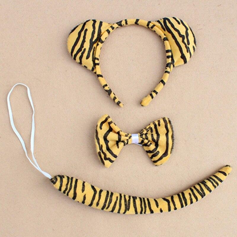 Детское взрослое животное ухо оголовье хвост кошка обезьяна Минни Маус Кролик Леопард лягушка лиса волк медведь леопард тигр вечерние головные уборы - Цвет: tiger
