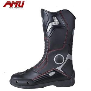 Image 4 - Botas de couro para motociclista, botas de couro à prova d água para moto, motociclista, botas de motocross