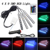 4x 9LED Wireless Remote Music Voice Control Interior Floor Foot Decoration Light Cigarette LED Atmosphere RGB