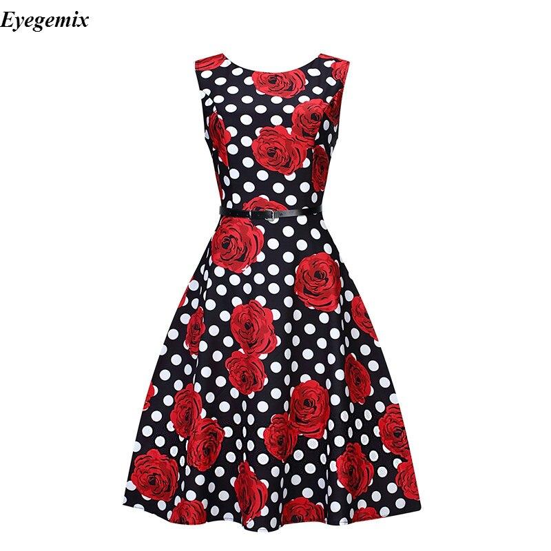 12b57f41df7ec Women Summer Dress 2017 Audrey Hepburn Floral Retro Swing Dress Robe Casual  50s 60s Vintage Rockabilly Dresses Large Size XXL