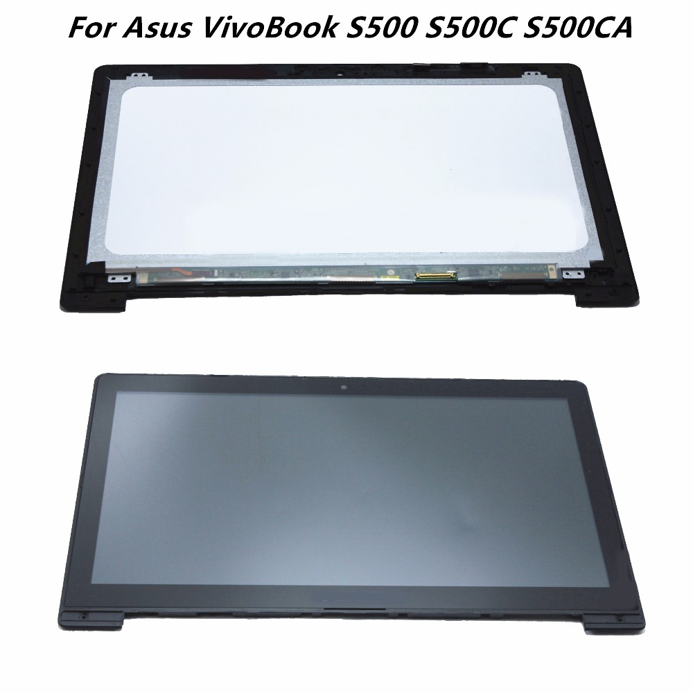 Genuine Touch Panel Glass Digitizer + LCD Screen Display Assembly Replacement Parts For Asus VivoBook S500 S500C S500CA Series used parts lcd display glass panel touch screen digitizer assembly frame for asus memo pad smart 10 me301 me301t k001 5280n 8v