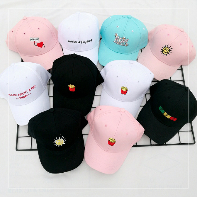 Cute Korean baseball cap embroidery fashion female leisure hat letter peaked cap soft sister summer hat male couple hat female summer sun cap folding speed dry outdoor sunshade cap female peaked cap covered his face riding hat