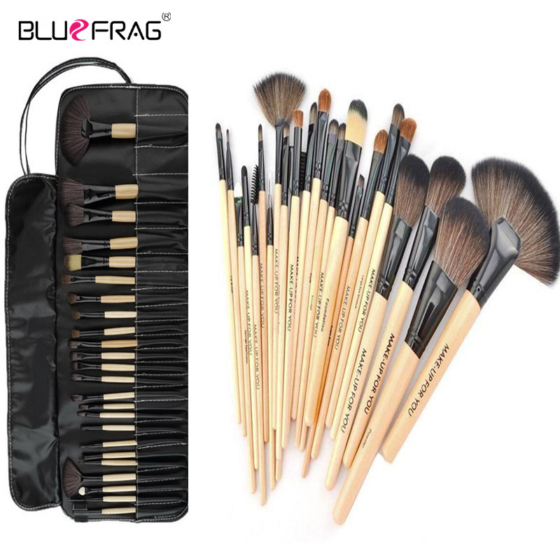 Professional 24 Pcs Makeup Brush Set Tools Make-up Toiletry Kit Wool Brand Make Up Brush Set Case Cosmetic Brush Top Quality! 147 pcs portable professional watch repair tool kit set solid hammer spring bar remover watchmaker tools watch adjustment