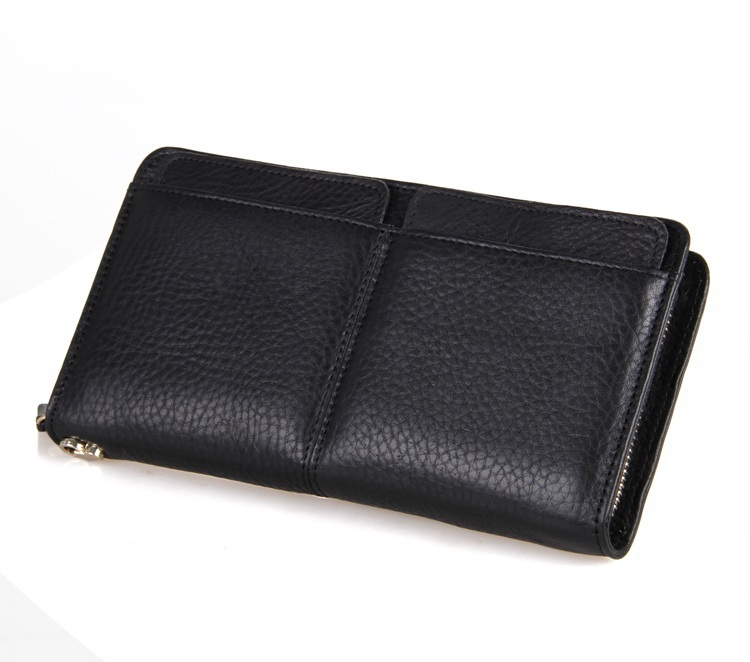 8069A  NEW Genuine Leather Male Wallet Fashion Brand Men wallet Long Design Zipper Purse Gift Clutches Bag