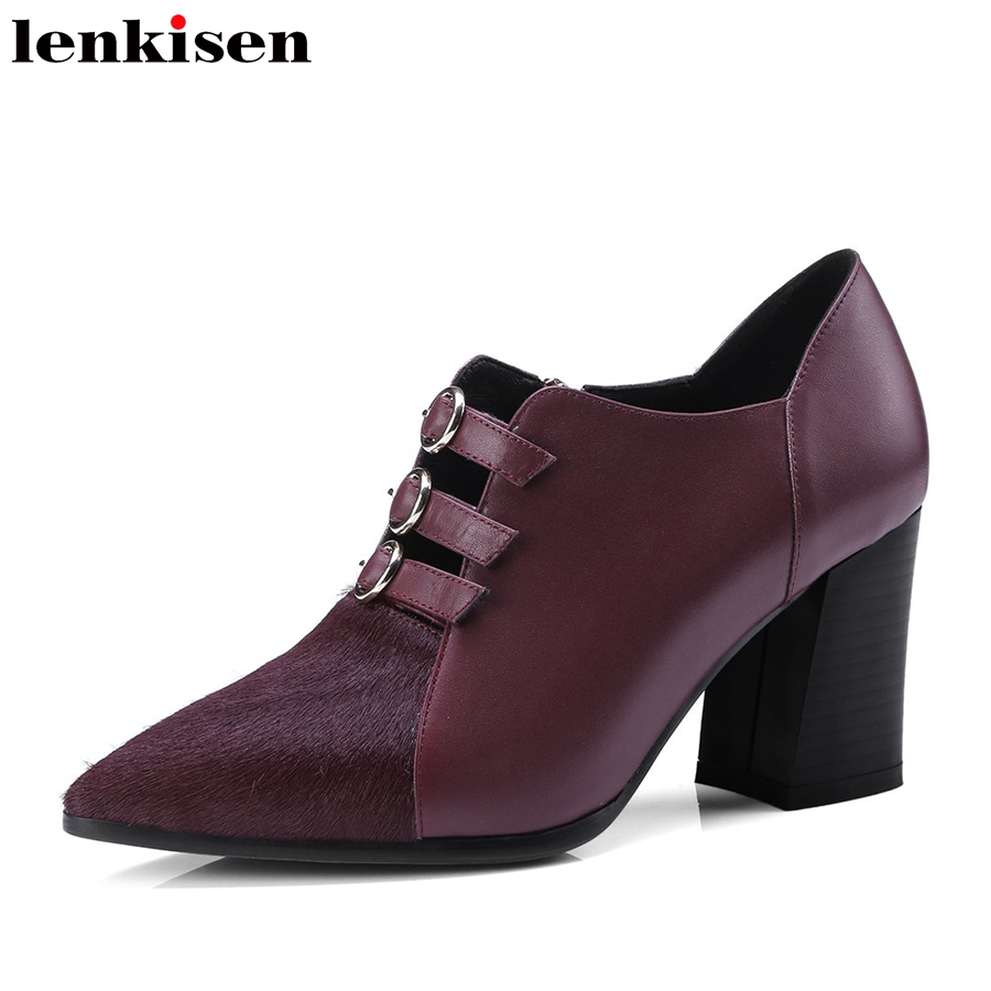 Lenkisen office lady pointed toe Spring brand shoes thick high heel fur cow leather buckle elegant runway mature women pumps L65 new genuine leather superstar solid thick heel zipper gladiator women pumps pointed toe office lady nude runway casual shoes l88