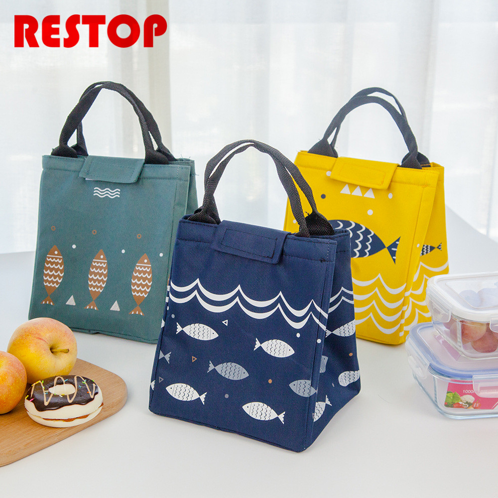 Fish Waterproof Oxford Lunch Bag Thermal Food Picnic Lunch Bags for Women kids Men Cooler Lunch Box Bag Tote RES532