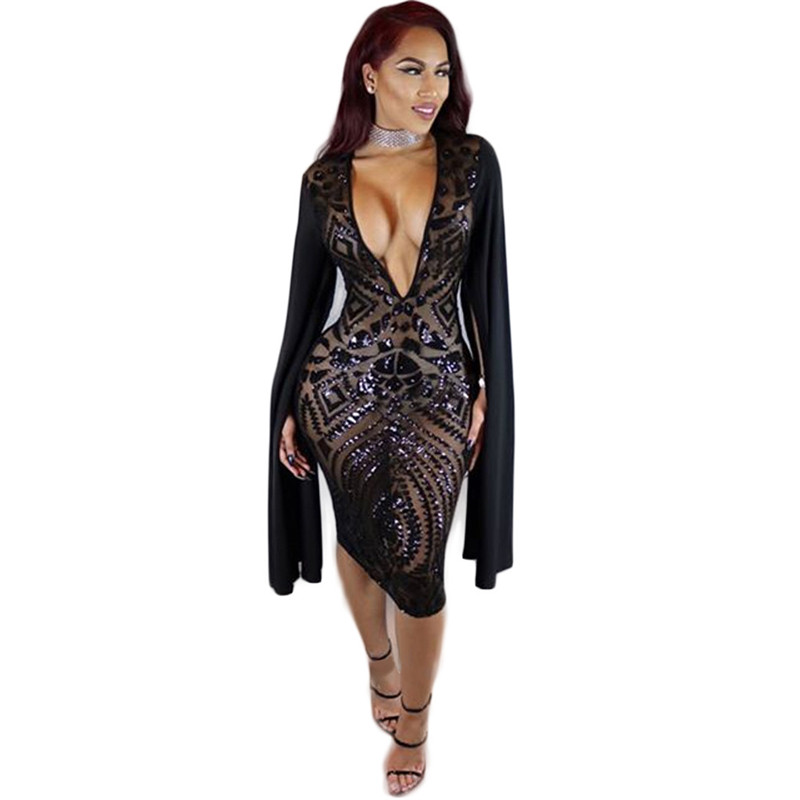 Women Sequin Dress Sexy Club Night Dress Lady Slim Evening Party  Transparent Sequined Knee Length Dress Vestido De Festa-in Dresses from Women s  Clothing on ... 1fc9b1cbe1c3