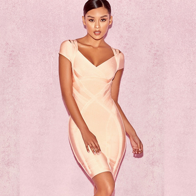 0a9d0894900 Detail Feedback Questions about sexy 2017 summer dress pink elegant Women  short sleeve chic bandage Dress grown celebrity party Dresses vestidos  Wholesale ...