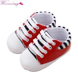 Модная обувь первые ходоки новорожденных для девочек и мальчиков мягкая подошва кроватки детская обувь холщовая Sneaker Prewalker обувь 0-18 M