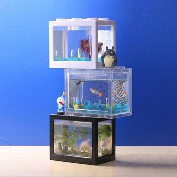 Mini Creative Acrylic Desktop Fish Tank Decoration Small Aquarium Ecological Cylinder Mini Fish Bowl Aquarium Decoration 1