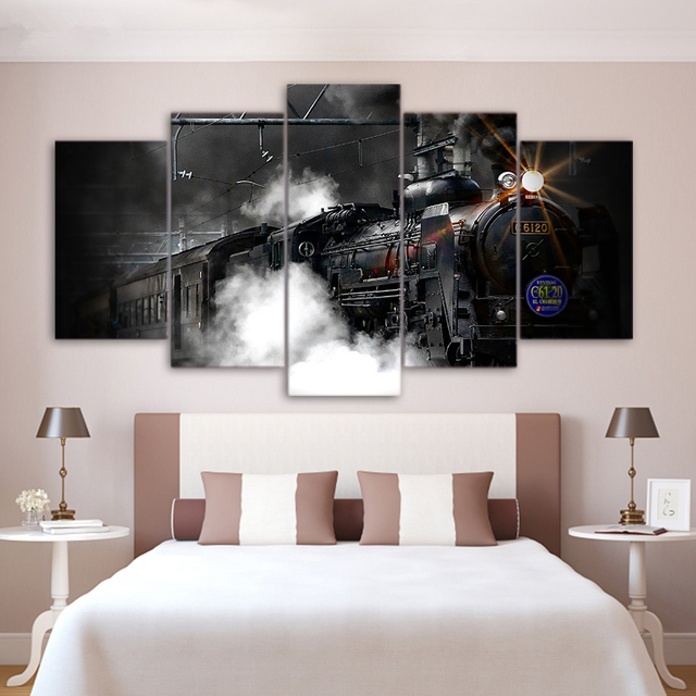 HD Printed Modern Wall Art Canvas Paintings Frame Home Decor 5 Panel Train Poster Steam Smoke Modular Abstract Pictures Bedroom