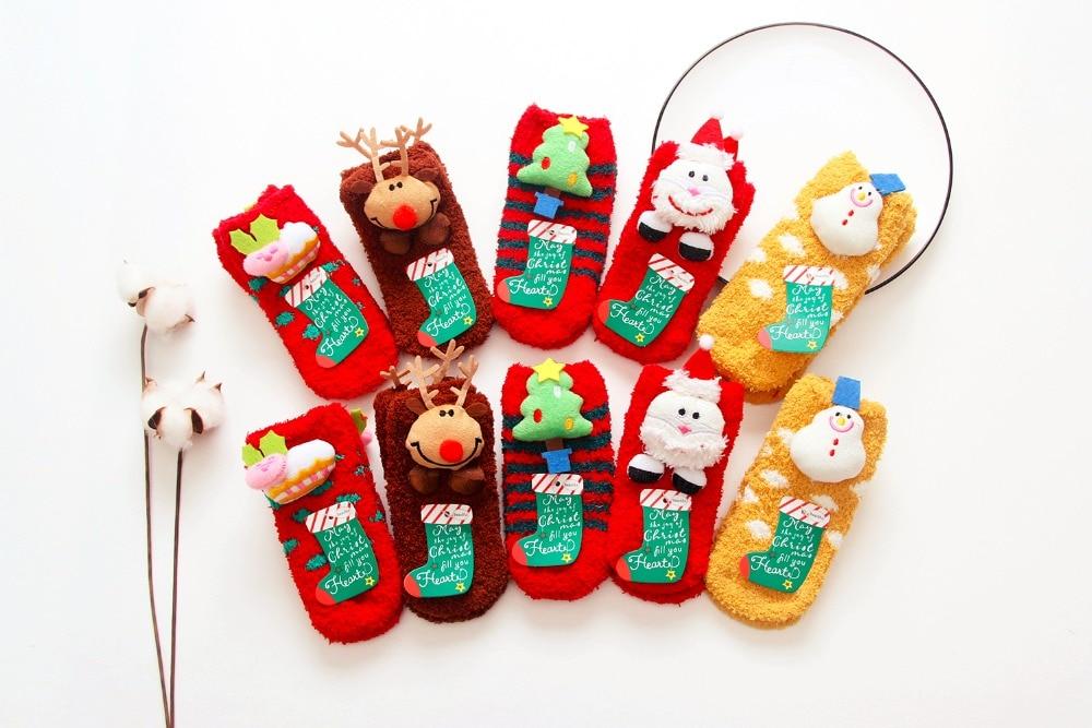 2017 Newborn Cartoon Christmas Baby Socks Children Kids Boys Girls 3D Cute Baby Gift Antislip Shoes Socks for 1-3T Baby Girl