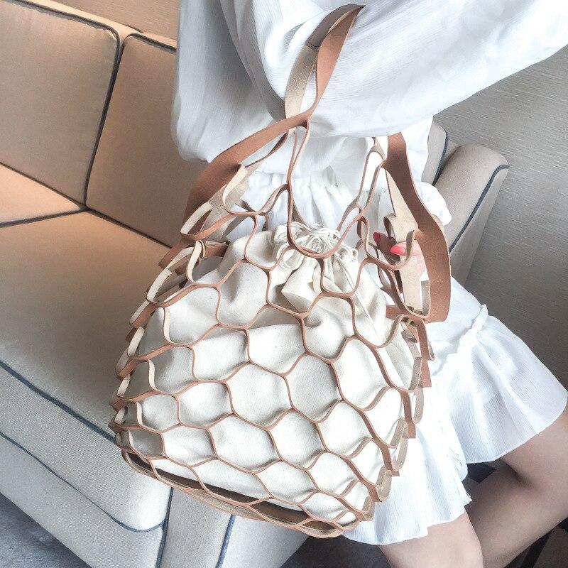 Female Hollow Out Design Handbags Canvas Shoulder Bag For Candy Color Mobile Phone Bag
