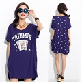 New 2016Summer Fashion Women Short Sleeve poker Printed loose long t shirt O neck casual female tops tees sides split xxxxl 9514