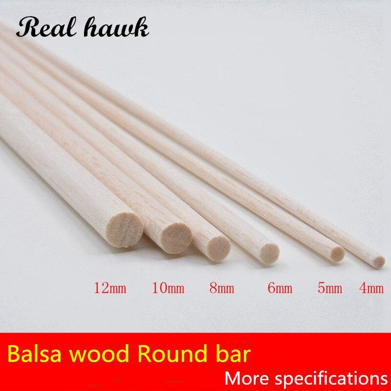 500mm lång diameter av D4 / D5 / D6 / D8 / D10 / D12mm AAA + Balsa Wood Roud Dowels Sticks för flygplan / båtmodell DIY gratis frakt