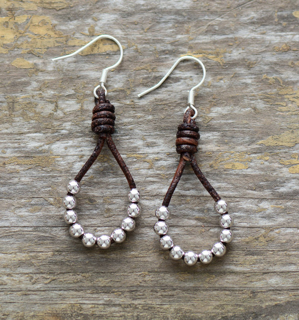 Womens Earrings Vintage Leather Silver Color Beads Dangle Earrings