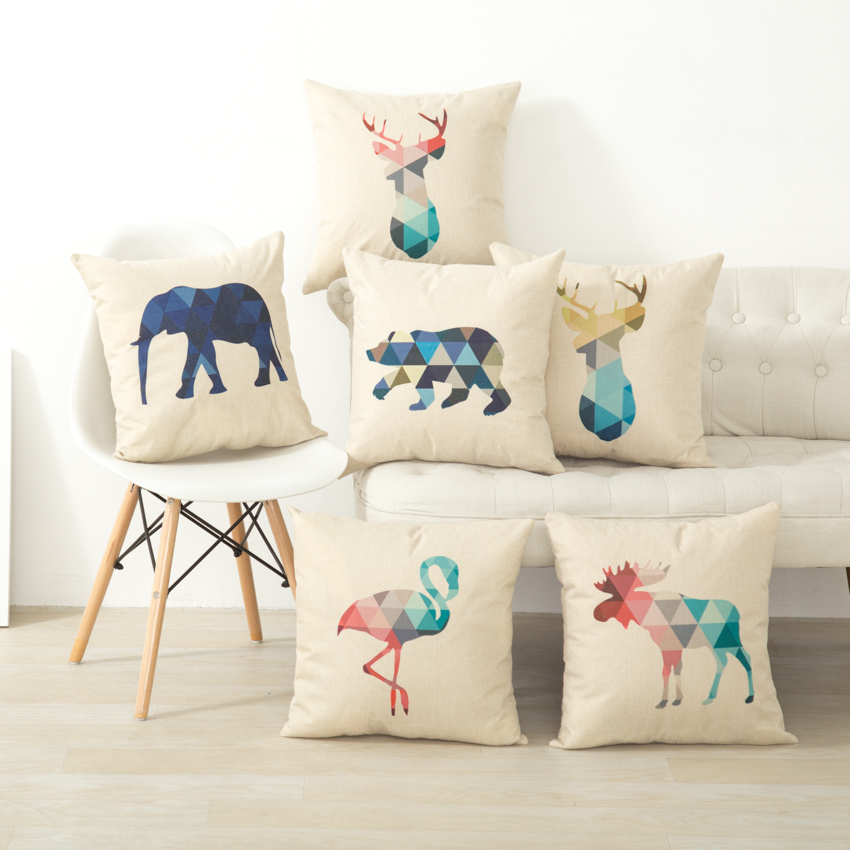 animal geometric nordic cushion pillow case cover. Black Bedroom Furniture Sets. Home Design Ideas